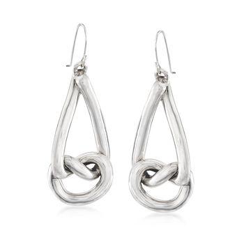 Sterling Silver Teardrop Knot Drop Earrings , , default
