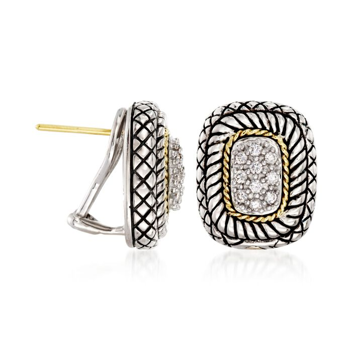 Andrea Candela .27 ct. t.w. Pave Diamond Earrings with 18kt Yellow Gold in Sterling Silver