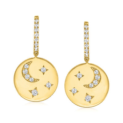 .50 ct. t.w. CZ Star and Moon Drop Earrings in 18kt Gold Over Sterling