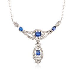 "C. 1990 Vintage 5.10 ct. t.w. Sapphire and 2.00 ct. t.w. Diamond Drop Necklace in 14kt White Gold. 17.75"", , default"