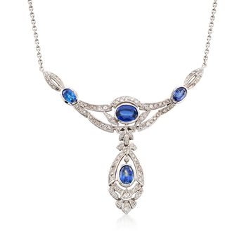 """C. 1990 Vintage 5.10 ct. t.w. Sapphire and 2.00 ct. t.w. Diamond Drop Necklace in 14kt White Gold. 17.75"""", , default"""