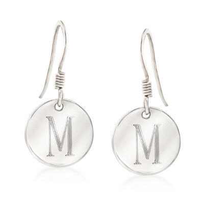 Italian Sterling Silver Single Initial Disc Drop Earrings