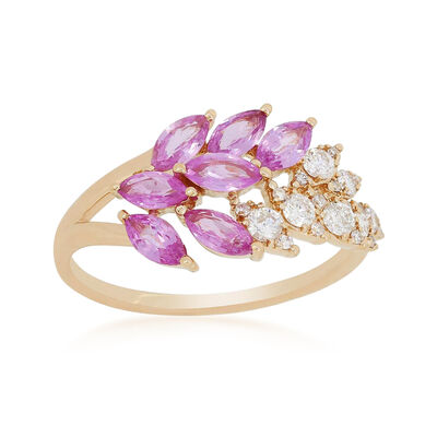 1.20 ct. t.w. Pink Sapphire and .28 ct. t.w. Diamond Ring in 18kt Yellow Gold