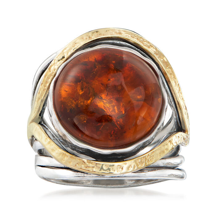 Amber Cabochon Ring in Sterling Silver with 14kt Yellow Gold