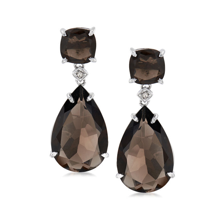 Smoky Quartz Teardrop Earrings with Diamond Accents in Sterling Silver, , default