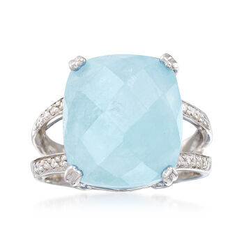 Milky Aquamarine and .10 ct. t.w. Diamond Ring in Sterling Silver, , default
