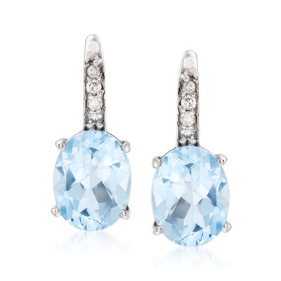 3.90 ct. t.w. Blue Topaz and .10 ct. t.w. Diamond Earrings in Sterling Silver, , default