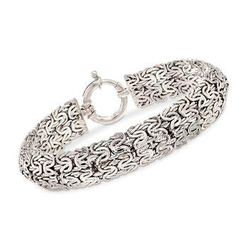 Sterling Silver Wide Byzantine Bracelet, , default