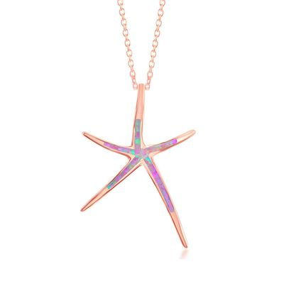 Pink Synthetic Opal Starfish Pendant Necklace in 18kt Rose Gold Over Sterling Silver, , default