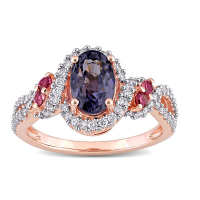 2.00 Carat Purple Spinel, .23 ct. t.w. Diamond and .10 ct. t.w. Pink Tourmaline Ring in 14kt Rose Gold, , default