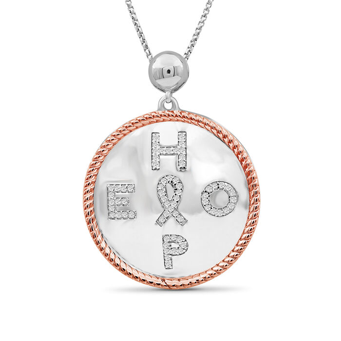 ".20 ct. t.w. Diamond ""Hope"" Pendant Necklace with Cancer Ribbon in Two-Tone Sterling. 18"", , default"
