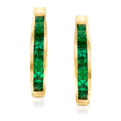 C. 1980 Vintage 2.00 ct. t.w. Emerald J-Hoop Earrings in 14kt Yellow Gold, , default
