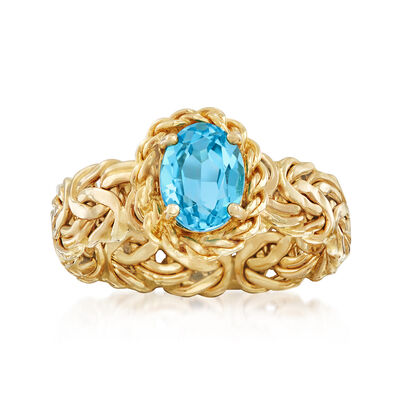 1.50 Carat Blue Topaz Byzantine Ring in 14kt Yellow Gold, , default