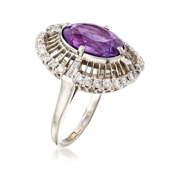 C. 1960 Vintage 4.75 Carat Amethyst and 1.00 ct. t.w. Diamond Ring in Platinum. Size 6.75