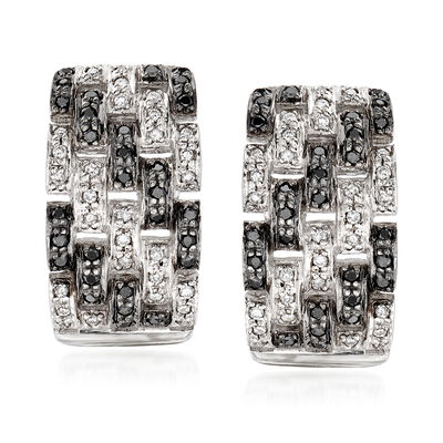 C. 1990 Vintage 1.00 ct. t.w. Black and White Diamond Basketweave Earrings in 14kt White Gold