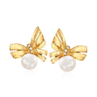 Mikimoto 7mm 'A+' Akoya Pearl Bow Stud Earrings with Diamond Accents in 18kt Yellow Gold