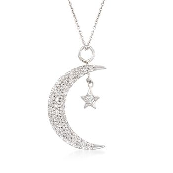 """Roberto Coin .29 ct. t.w. Diamond Moon and Star Pendant Necklace in 18kt White Gold. 16"""", , default"""