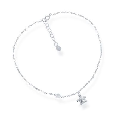 Sterling Silver Sea Turtle Anklet with CZ Accent, , default