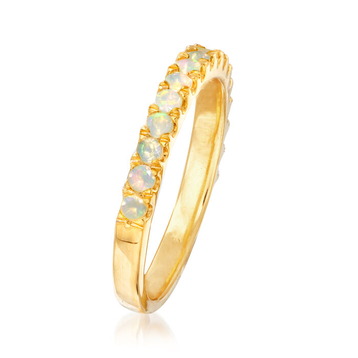 2mm Opal Ring in 18kt Gold Over Sterling