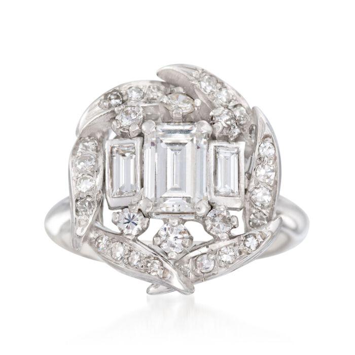 C. 1990 Vintage 1.15 ct. t.w. Multi-Cut Diamond Ring in 14kt White Gold