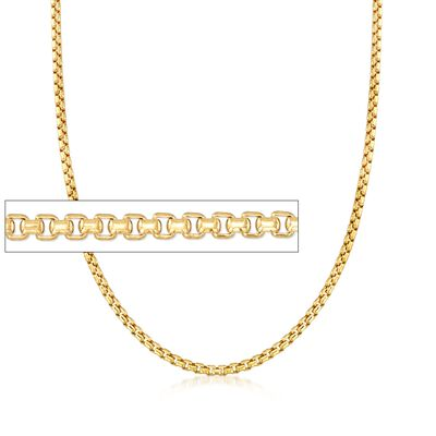 Men's 3.5mm 14kt Yellow Gold Box Chain Necklace, , default