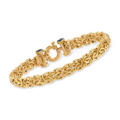 Italian 1.00 ct. t.w. Sapphire Byzantine Bracelet in 14kt Yellow Gold