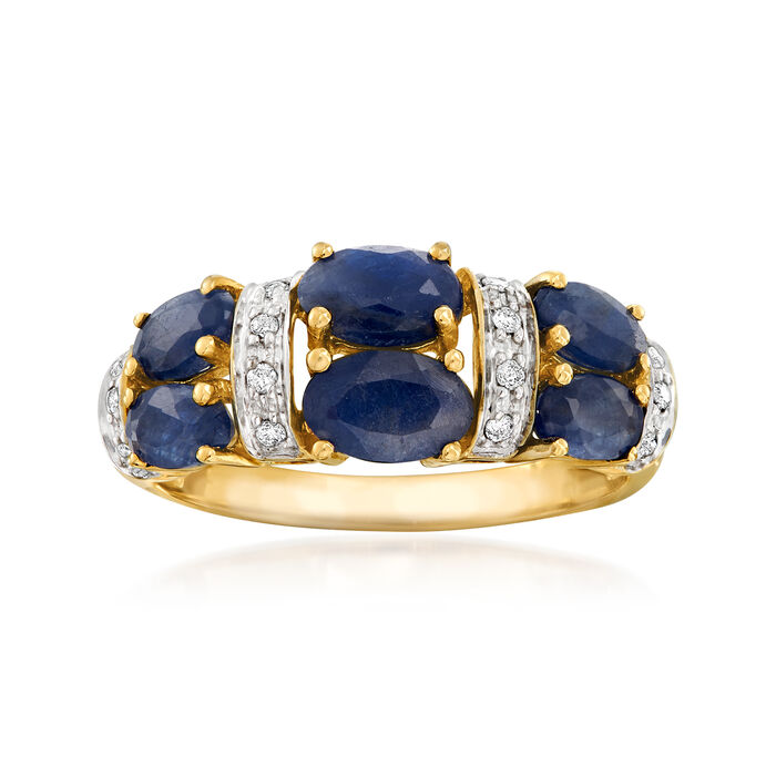 2.80 ct. t.w. Sapphire Ring with Diamond Accents in 14kt Yellow Gold