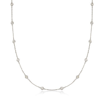 1.00 ct. t.w. Bezel-Set Diamond Station Necklace in Sterling Silver