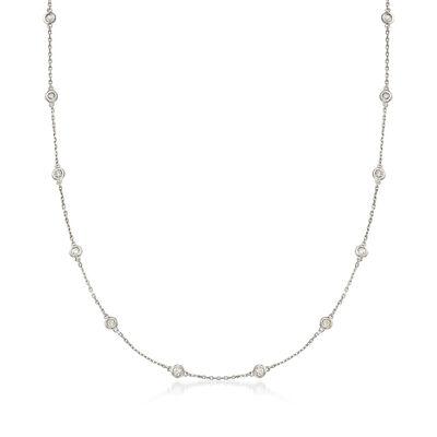1.00 ct. t.w. Bezel-Set Diamond Station Necklace in Sterling Silver