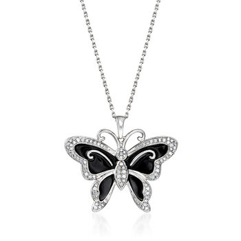 .25 ct. t.w. Diamond and Black Enamel Butterfly Pendant Necklace in Sterling Silver, , default