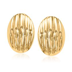 14kt Yellow Gold Ribbed Dome Clip-On Earrings, , default