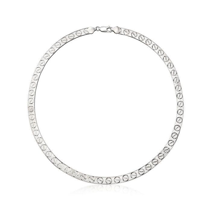 Italian Sterling Silver Reversible Herringbone Necklace , , default