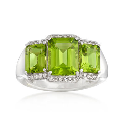 5.00 ct. t.w. Peridot and .13 ct. t.w. Diamond Ring in 14kt White Gold, , default
