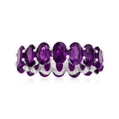 6.00 ct. t.w. Amethyst Eternity Ring in Sterling Silver, , default