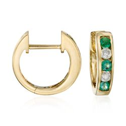 ".30 ct. t.w. Emerald and .20 ct. t.w. Diamond Hoop Earrings in 14kt Yellow Gold. 3/8"", , default"