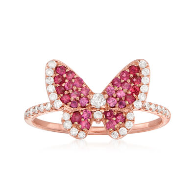 .86 ct. t.w. Ruby and .30 ct. t.w. Diamond Butterfly Ring in 14kt Rose Gold