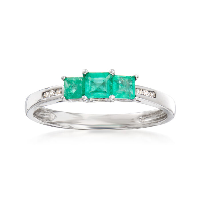 .50 ct. t.w. Emerald Ring with Diamond Accents in 14kt White Gold