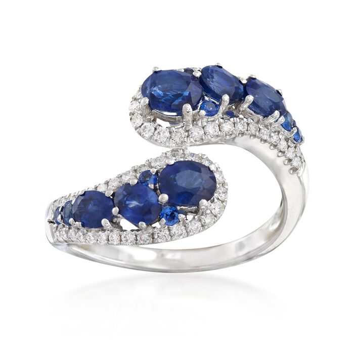 1.70 ct. t.w. Sapphire and .38 ct. t.w. Diamond Bypass Ring in 18kt White Gold