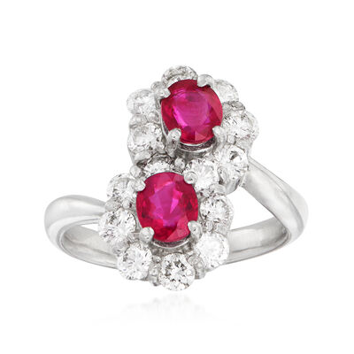 C. 1990 Vintage 1.61 ct. t.w. Ruby and 1.17 ct. t.w. Diamond Bypass Ring in Platinum