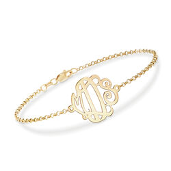 14kt Yellow Gold Monogram Chain Bracelet, , default