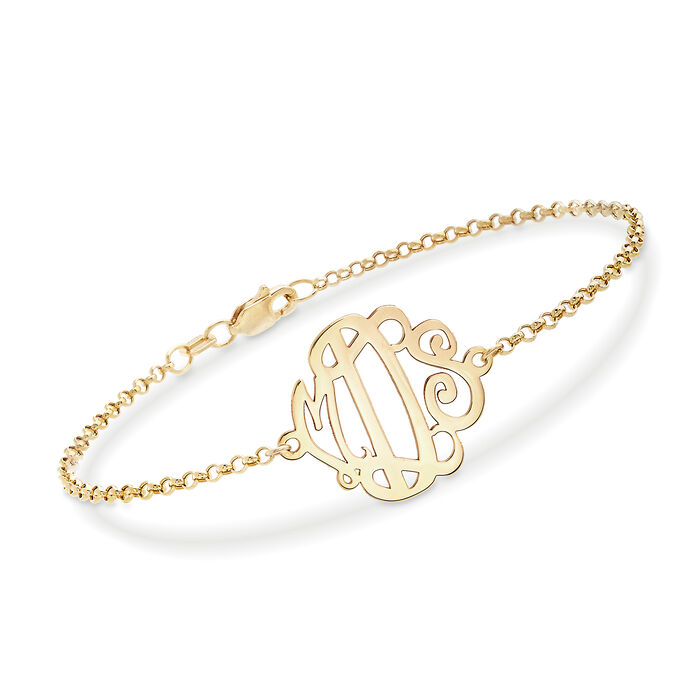 14kt Yellow Gold Monogram Chain Bracelet, , default