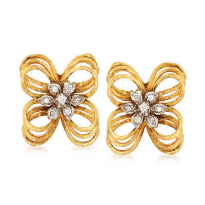 C. 1970 Vintage .25 ct. t.w. Diamond Flower Clip-On Earrings in 14kt Yellow Gold, , default