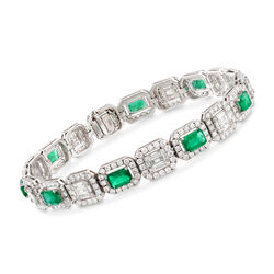 3.40 ct. t.w. Emerald and 5.08 ct. t.w. Diamond Mosaic Bracelet in 18kt White Gold, , default