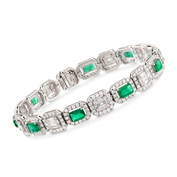 """3.40 ct. t.w. Emerald and 5.08 ct. t.w. Diamond Mosaic Bracelet in 18kt White Gold. 7"""", , default"""