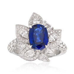 2.20 Carat Sapphire and 2.19 ct. t.w. Diamond Ring in 18kt White Gold, , default
