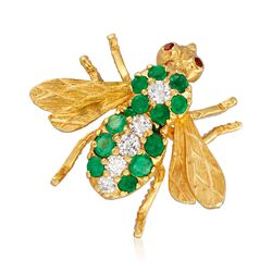 C. 1980 Vintage .55 ct. t.w. Emerald and .20 ct. t.w. Diamond Bee Pin With Ruby Accents in 18kt Gold , , default