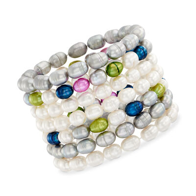 7-8mm Multicolored Cultured Baroque Pearl Jewelry Set: Seven Stretch Bracelets