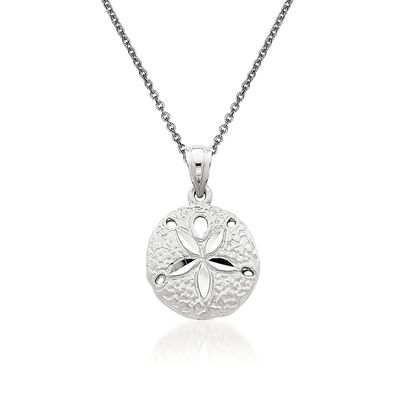 14kt White Gold Sand Dollar Pendant Necklace, , default