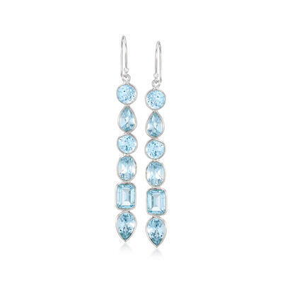 12.90 ct. t.w. Multi-Shaped Blue Topaz Drop Earrings in Sterling Silver