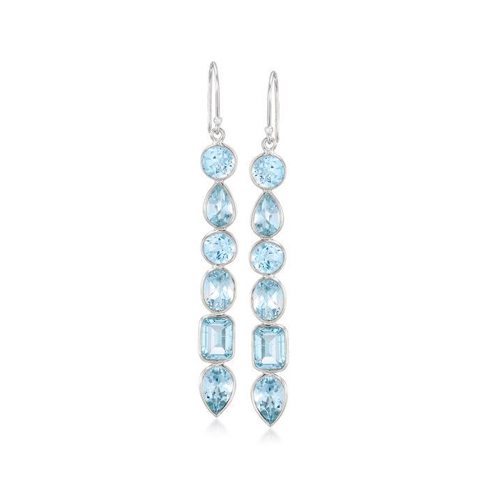 12.90 ct. t.w. Multi-Shaped Blue Topaz Drop Earrings in Sterling Silver